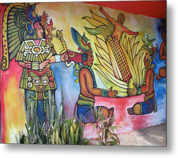 Wall Painting In A Mexican Village Metal Print