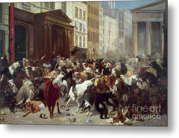 Metal Print featuring the photograph Wall Street: Bears & Bulls by Granger