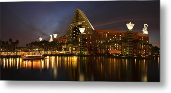 Walt Disney Dolphin At Twilight Metal Print by Andrew Soundarajan