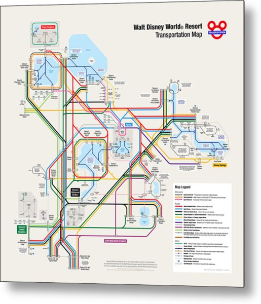 Walt Disney World Resort Transportation Map Metal Print