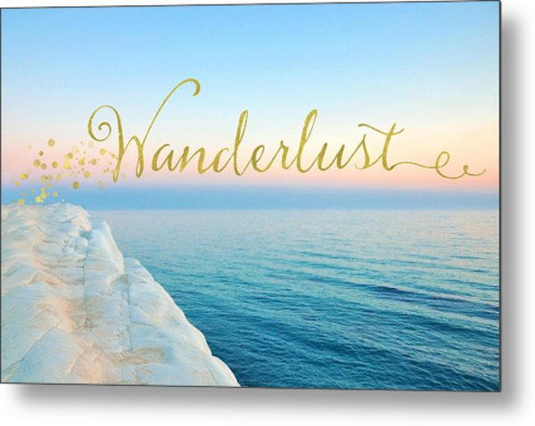 Wanderlust, Santorini Greece Ocean Coastal Sentiment Art Metal Print
