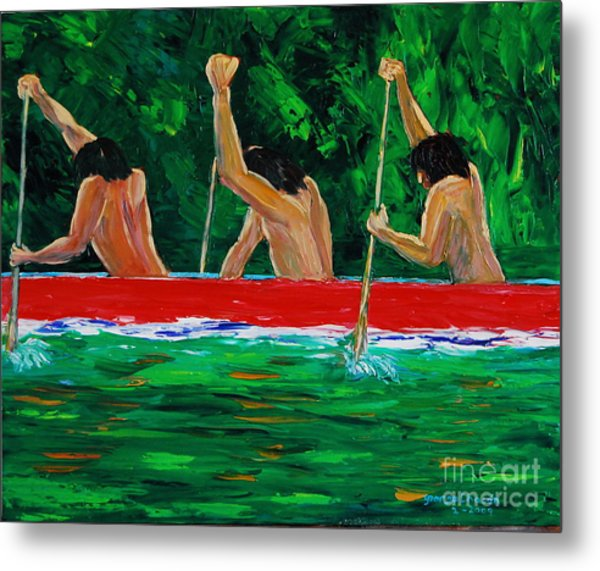 war canoe races 1977 Nooksack tribe Wa  Metal Print by George Chacon