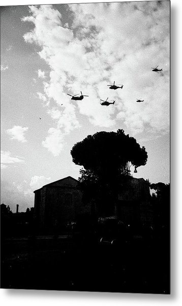 War Helicopters Over The Imperial Fora Metal Print