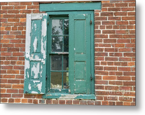 Warehouse Window With Shutter Metal Print