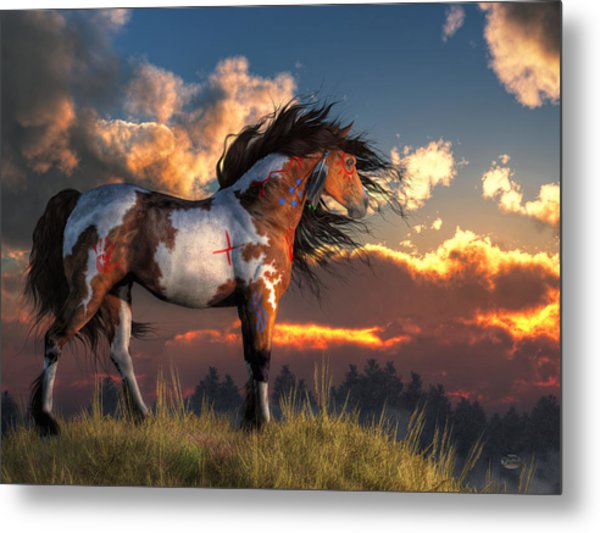 Metal Print featuring the digital art Warhorse by Daniel Eskridge