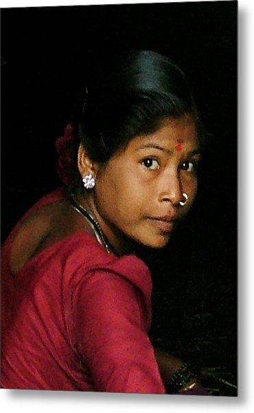 Warli Woman Metal Print by Pramod Bansode