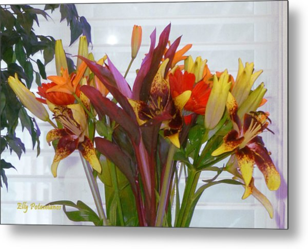 Warm Colored Flowers Metal Print