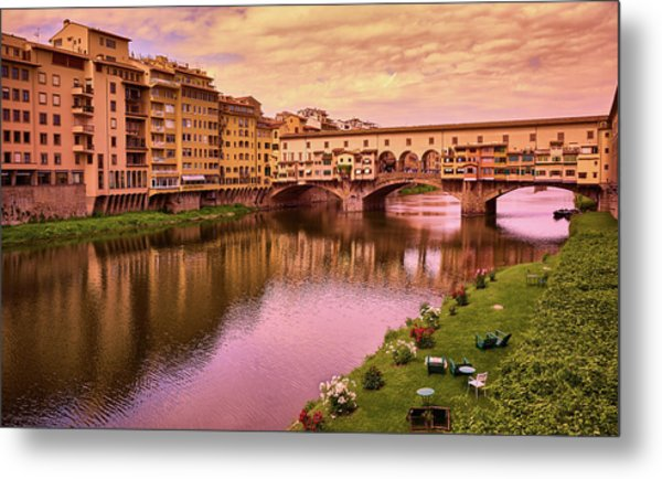 Sunset At Ponte Vecchio In Florence, Italy Metal Print