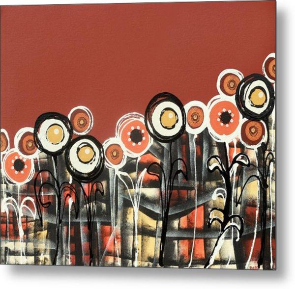 Warm Red Flowers Metal Print