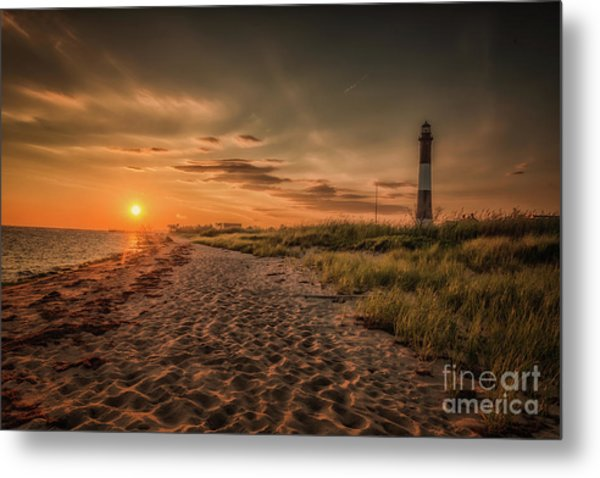 Warm Sunrise At The Fire Island Lighthouse Metal Print