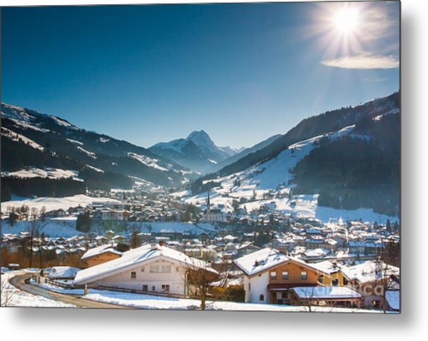 Warm Winter Day In Kirchberg Town Of Austria Metal Print