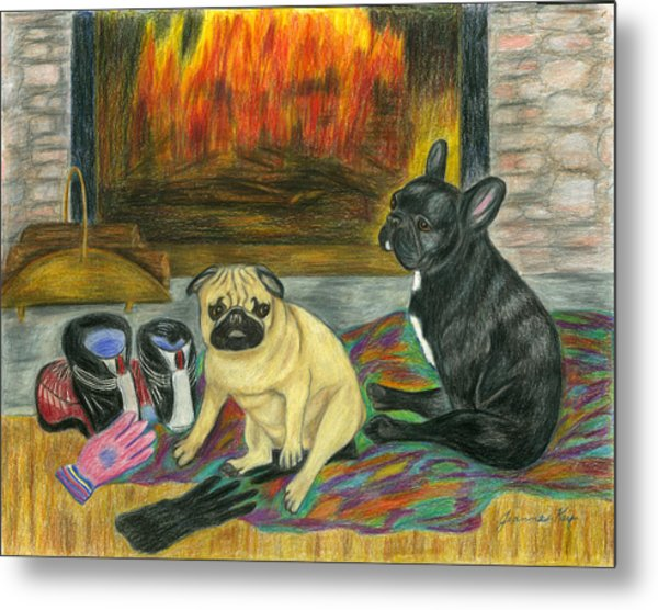 Warming Up By The Fireside Metal Print