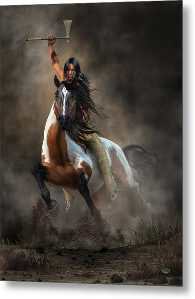 Metal Print featuring the digital art Warrior by Daniel Eskridge