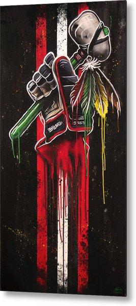 Warrior Glove On Black Metal Print