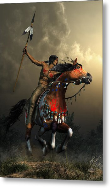 Metal Print featuring the digital art Warriors Of The Plains by Daniel Eskridge