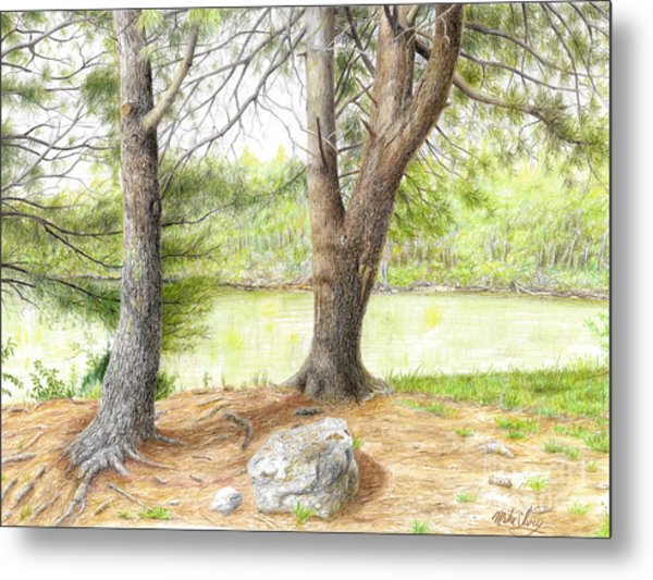 Metal Print featuring the drawing Warriors Path St Park by Mike Ivey
