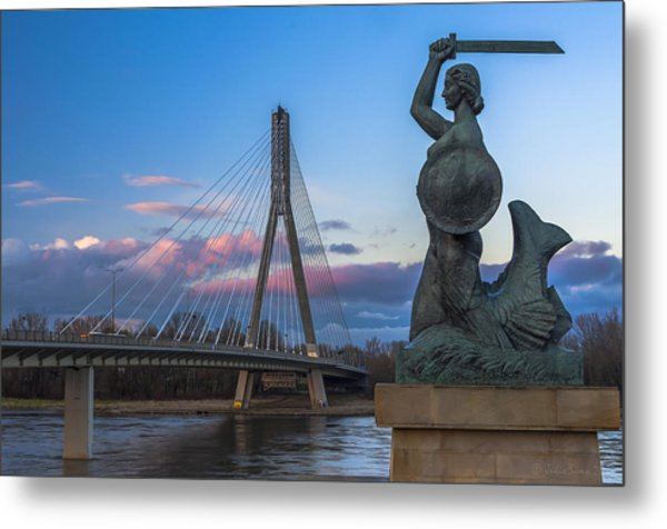 Warsaw Mermaid And Swiatokrzyski Bridge On Vistula Metal Print