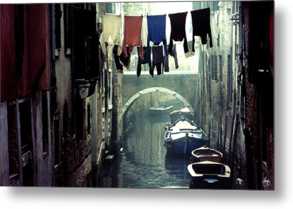 Washday In Venice Italy Metal Print