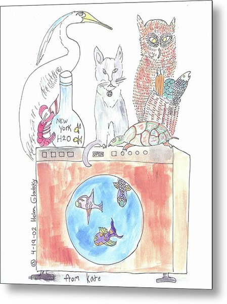 Washing Machine Friends Metal Print