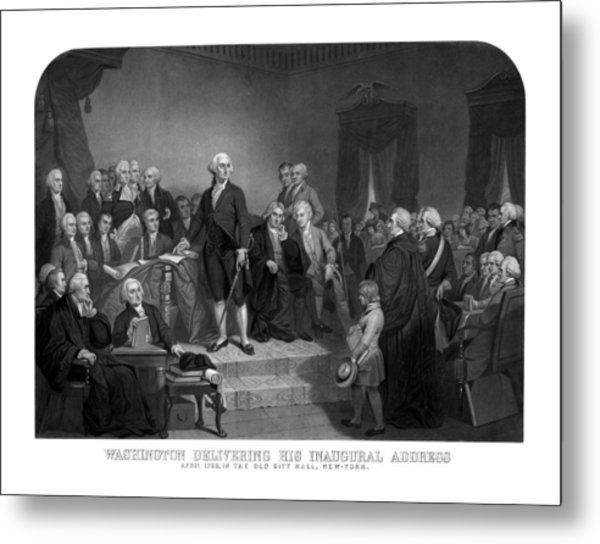 Washington Delivering His Inaugural Address Metal Print