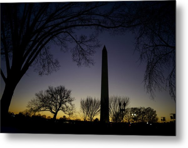 Washington Monument At Twilight With Moon Metal Print