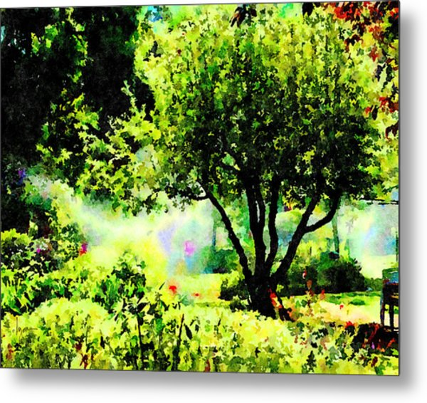 Metal Print featuring the painting Watch Out For The Sprinklers by Angela Treat Lyon