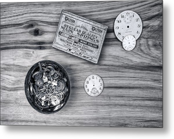 Watch Parts On Wood Still Life Metal Print