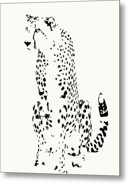 Watchful Cheetah On Its Haunches Metal Print