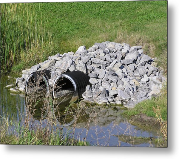 Water And Culverts Metal Print by Richard Mitchell