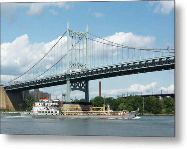 Water And Ship Under The Bridge Metal Print