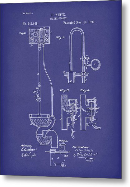 Metal Print featuring the drawing Water Closet Patent Art Blue by Prior Art Design