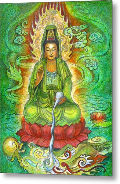 Water Dragon Kuan Yin Metal Print