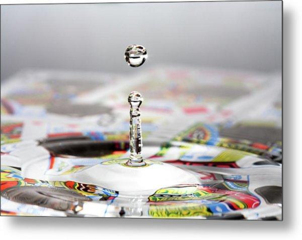 Water Drop Cards Metal Print