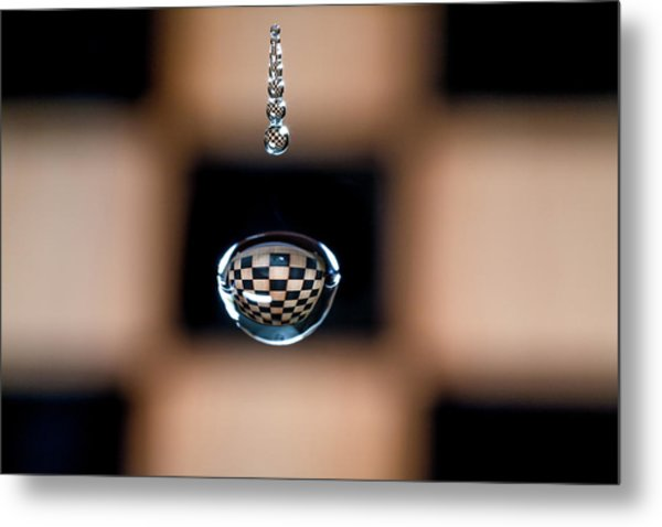 Water Drop Chess Board Metal Print