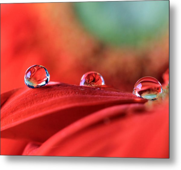 Water Drop Reflections Metal Print
