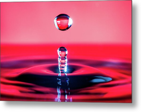 Water Drop In Red Metal Print