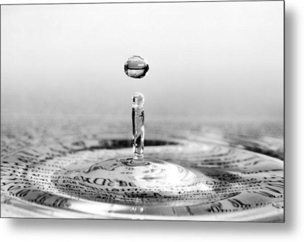 Water Drop Script Metal Print