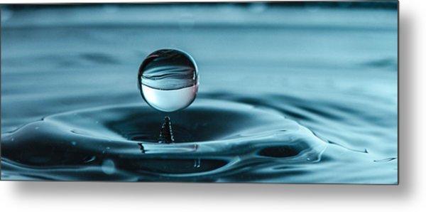 Water Drop With Milk Metal Print