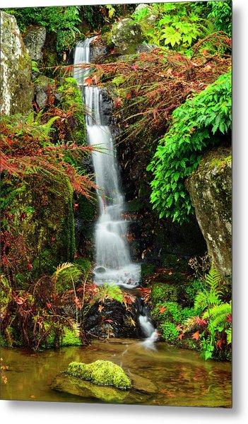 Waterfall At Kubota Garden Metal Print