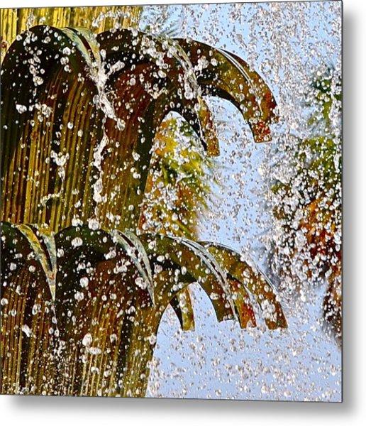 Water Fountain Yellow Charleston Sc Metal Print by Lori Kesten