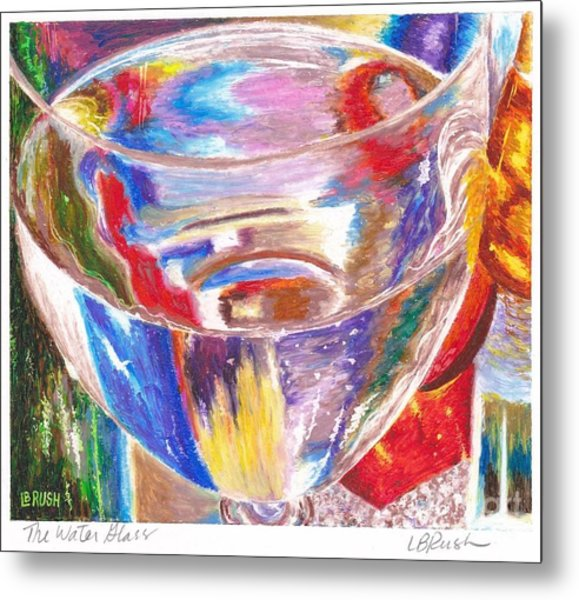 Water Glass Metal Print