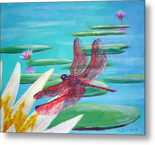 Water Lilies And Dragonfly Metal Print by Susan Kubes