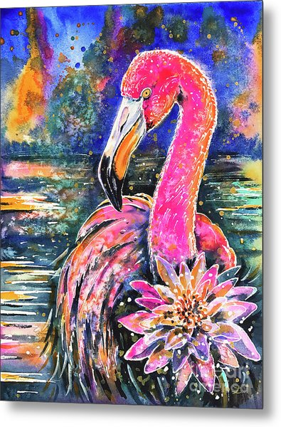 Water Lily And Flamingo Metal Print
