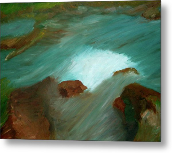 Water Over The Rocks Metal Print