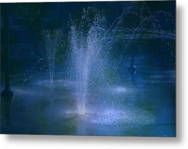 Water Park At Night Metal Print by Brenda Myers
