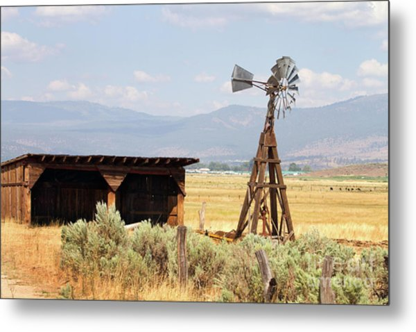 Water Pumping Windmill Metal Print