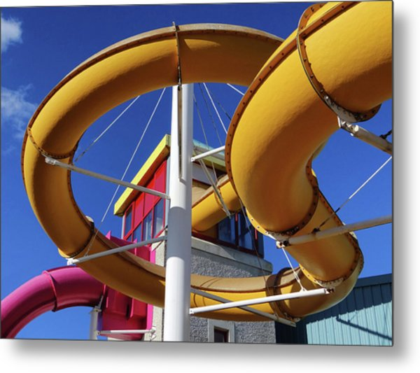 Water Slides At Bundoran Waterworld - Abstract, Bright Primary Colours Against A Deep Blue Sky Metal Print