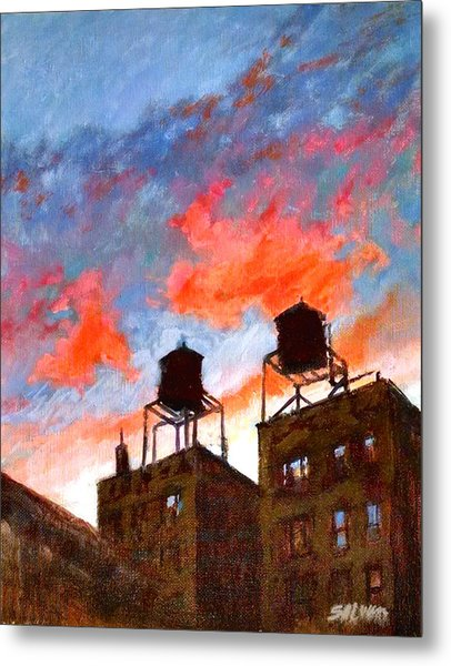 Water Towers At Sunset No. 1 Metal Print