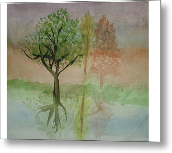 Water Trees Metal Print by Hal Newhouser