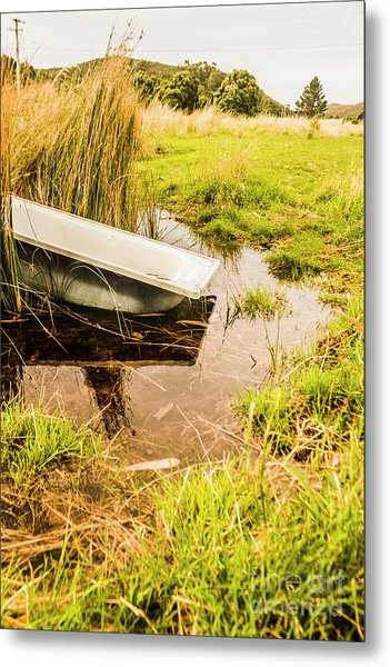 Water Troughs And Outback Farmland Metal Print